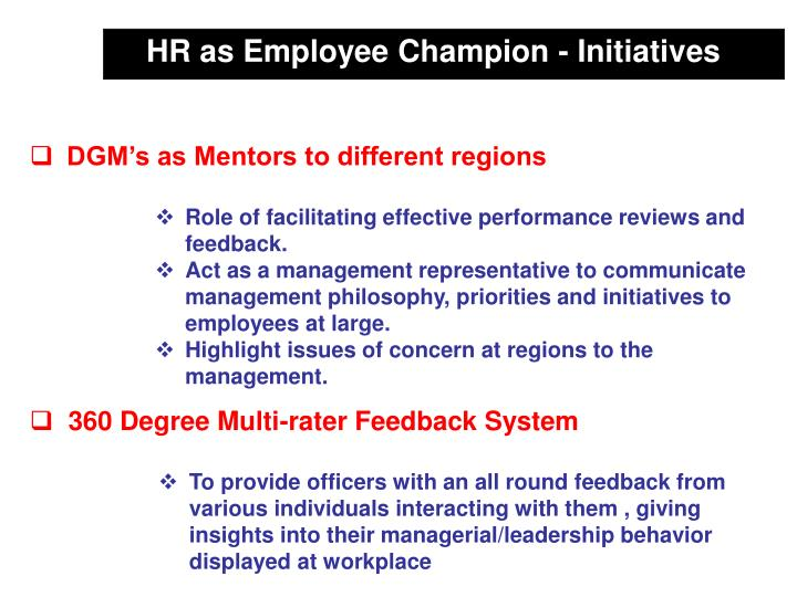 HR as Employee Champion - Initiatives