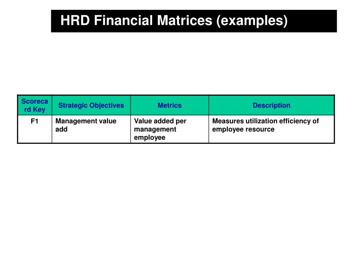 HRD Financial Matrices (examples)
