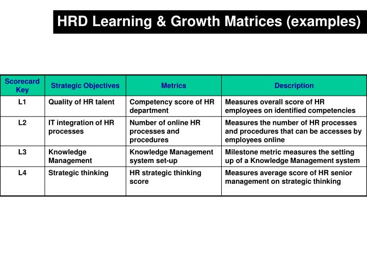 HRD Learning & Growth Matrices (examples)