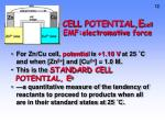cell potential e cell emf electromotive force