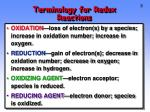 terminology for redox reactions