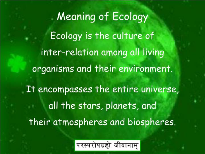 Meaning of Ecology