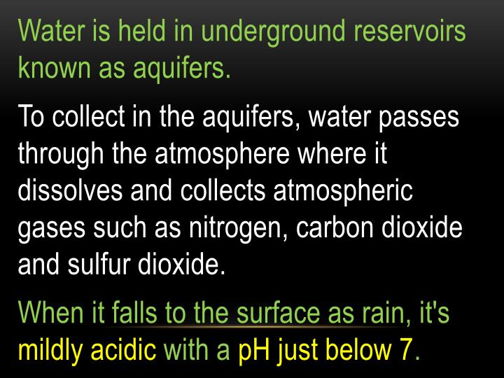 Water is held in underground reservoirs known as aquifers.