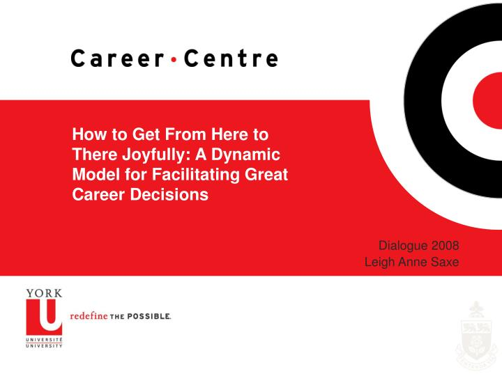 How to get from here to there joyfully a dynamic model for facilitating great career decisions