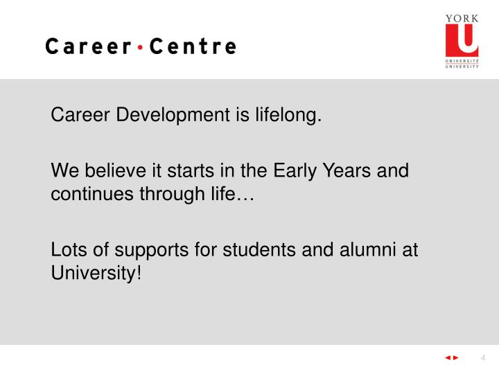Career Development is lifelong.
