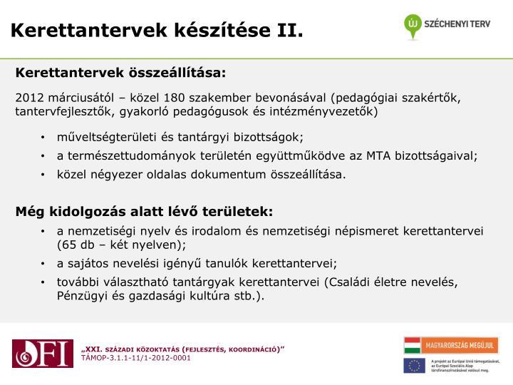 Kerettantervek készítése II.