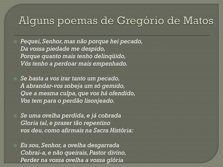 Alguns poemas de Gregório de Matos