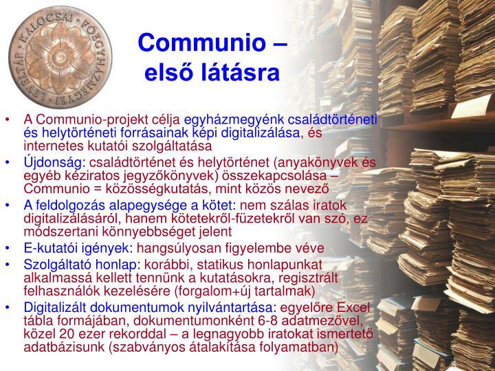 Communio – első látásra