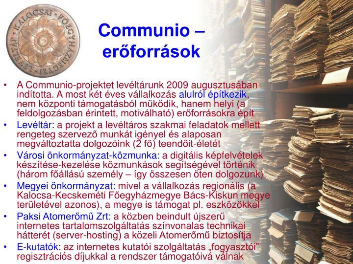 Communio – erőforrások