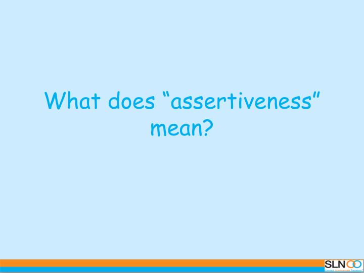 what does assertiveness mean n.