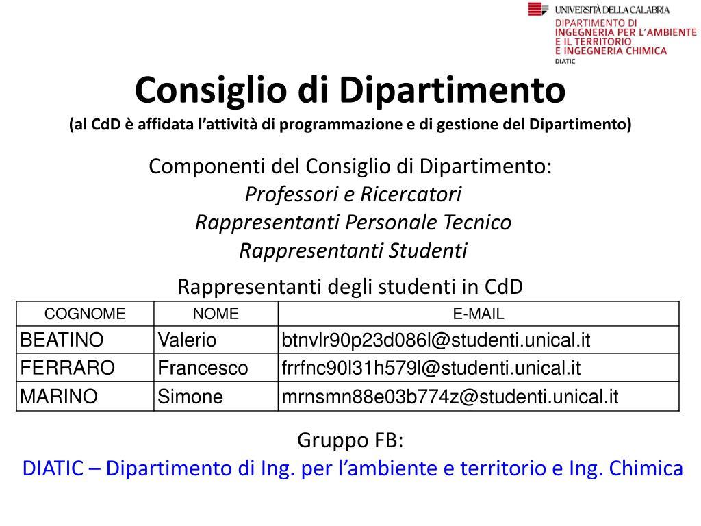 Calendario Esami Ingegneria Unical.Ppt Incontro Con Gli Studenti Lunedi 22 Settembre 2014 Ore