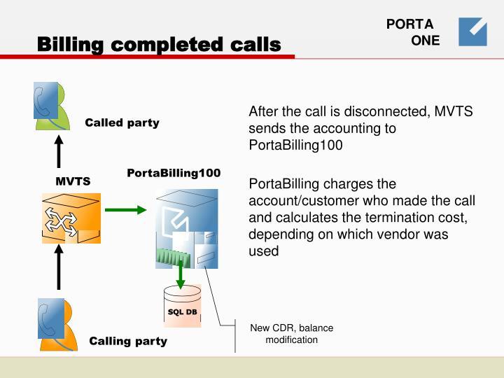 Billing completed calls