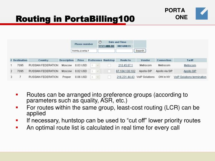 Routing in PortaBilling100