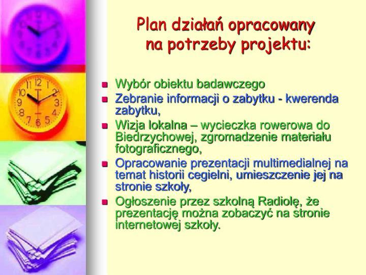 Plan dzia a opracowany na potrzeby projektu