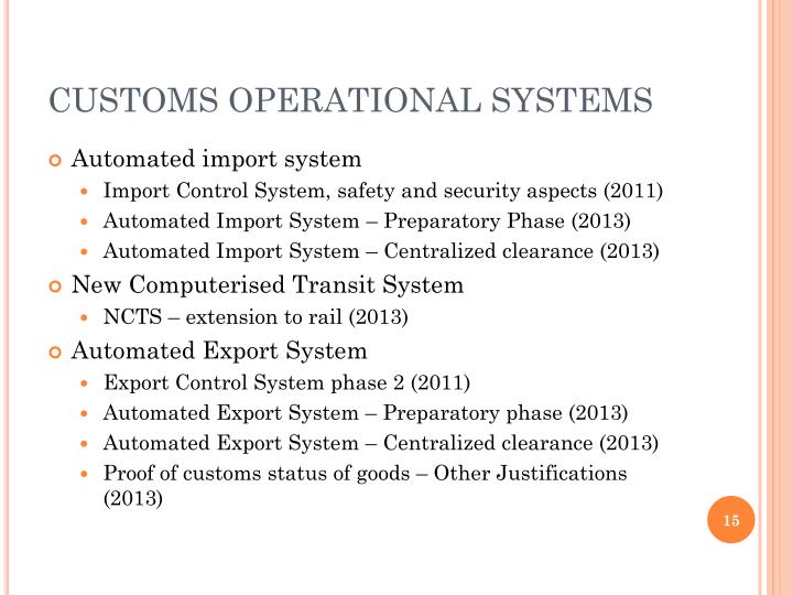 CUSTOMS OPERATIONAL SYSTEMS
