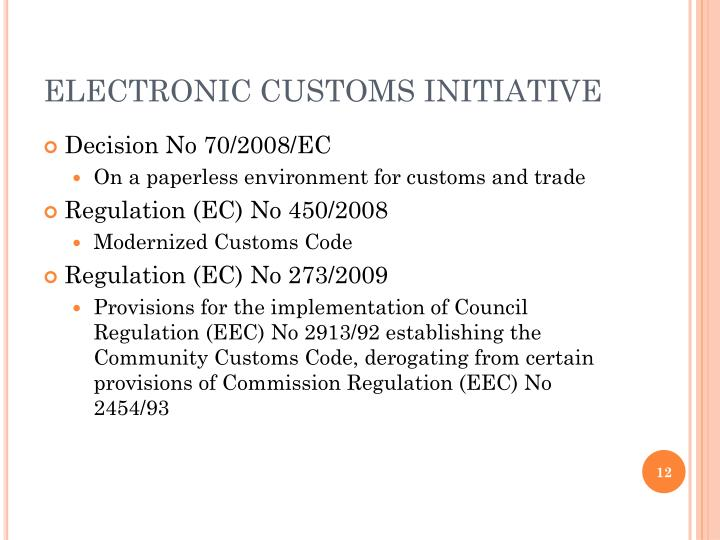 ELECTRONIC CUSTOMS INITIATIVE
