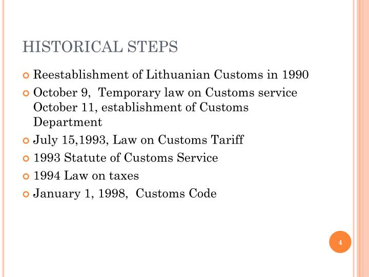 HISTORICAL STEPS