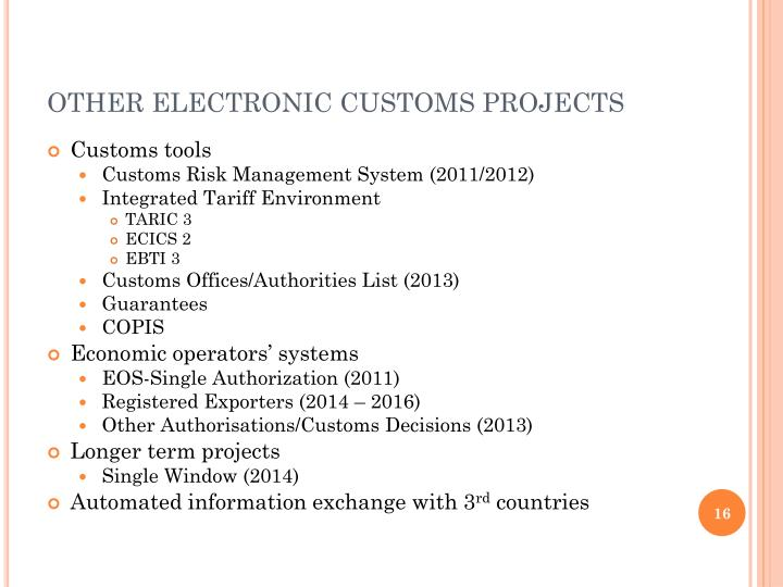 OTHER ELECTRONIC CUSTOMS PROJECTS