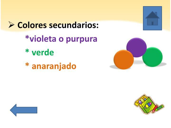 Colores secundarios: