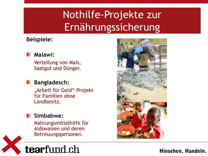Nothilfe-Projekte zur Ernährungssicherung