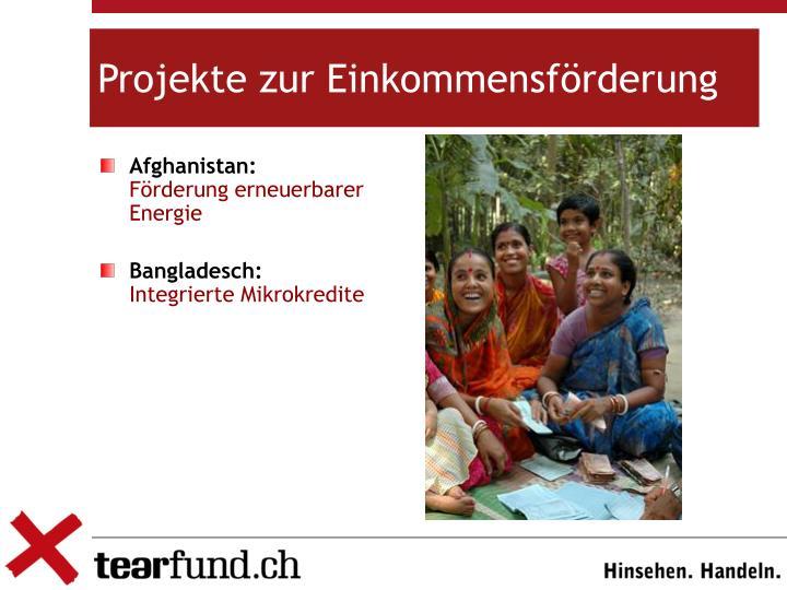 Projekte zur Einkommensförderung