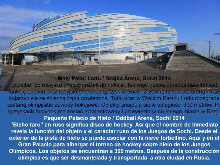 Mały Pałac Lodu / Szajba Arena, Soczi 2014