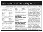 final rule fr effective january 18 2011