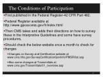 the conditions of participation