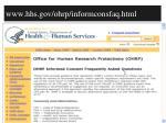 www hhs gov ohrp informconsfaq html