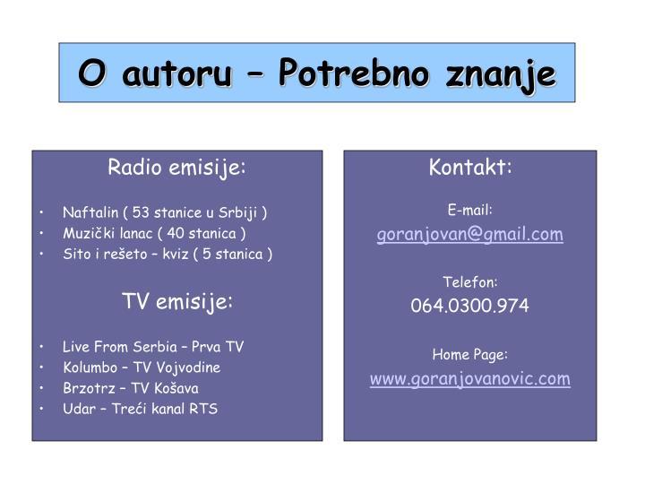 Radio emisije: