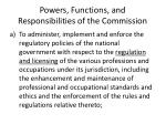 powers functions and responsibilities of the commission