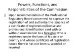 powers functions and responsibilities of the commission15