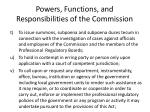 powers functions and responsibilities of the commission24