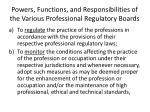 powers functions and responsibilities of the various professional regulatory boards