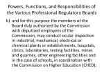 powers functions and responsibilities of the various professional regulatory boards1