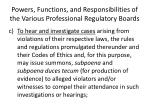 powers functions and responsibilities of the various professional regulatory boards2