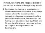 powers functions and responsibilities of the various professional regulatory boards3