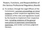 powers functions and responsibilities of the various professional regulatory boards4