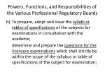 powers functions and responsibilities of the various professional regulatory boards6