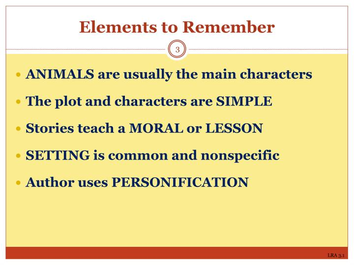 Elements to remember