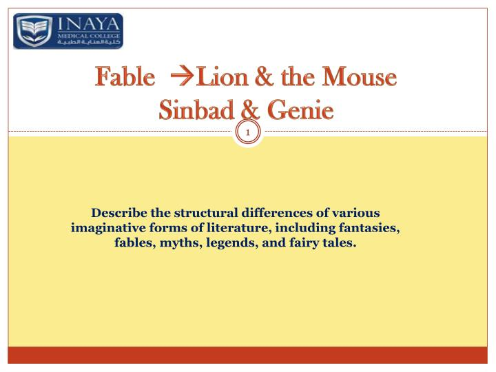 fable lion the mouse sinbad genie n.