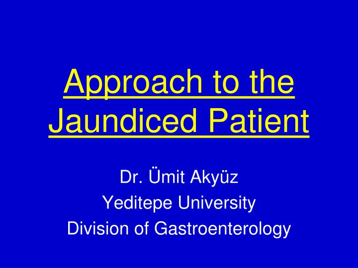 approach to the jaundiced patient n.