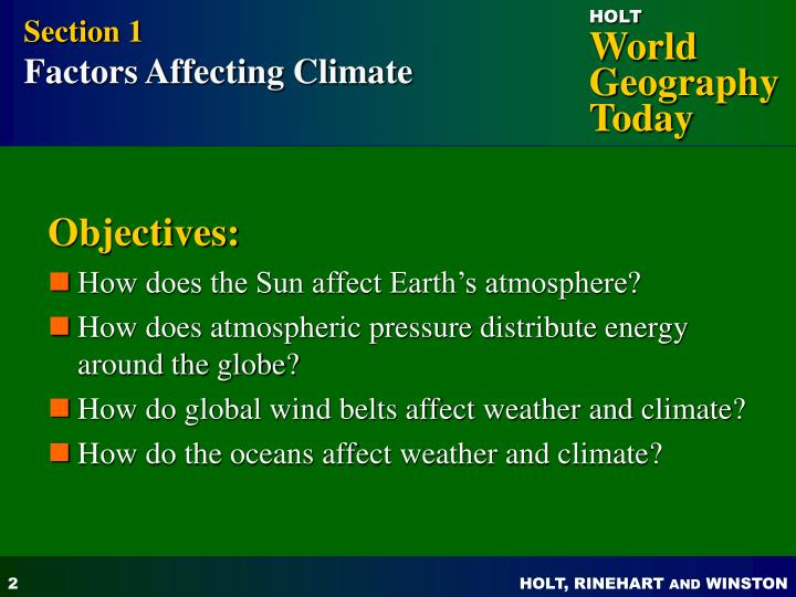 what factors affect the climate of an area