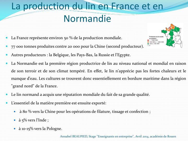 La production du linen France et en Normandie