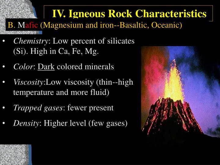 IV. Igneous Rock Characteristics