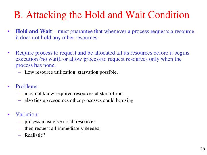 B. Attacking the Hold and Wait Condition