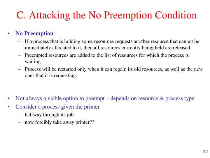 C. Attacking the No Preemption Condition