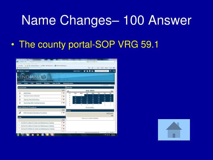 Name Changes– 100 Answer