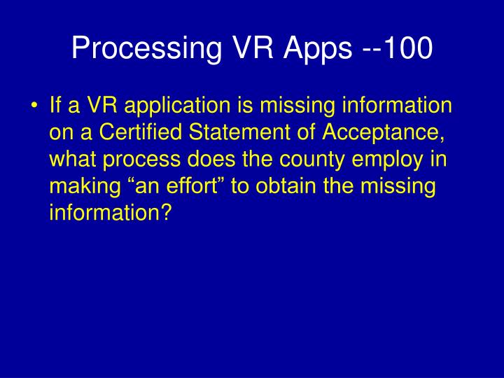 Processing VR Apps --100