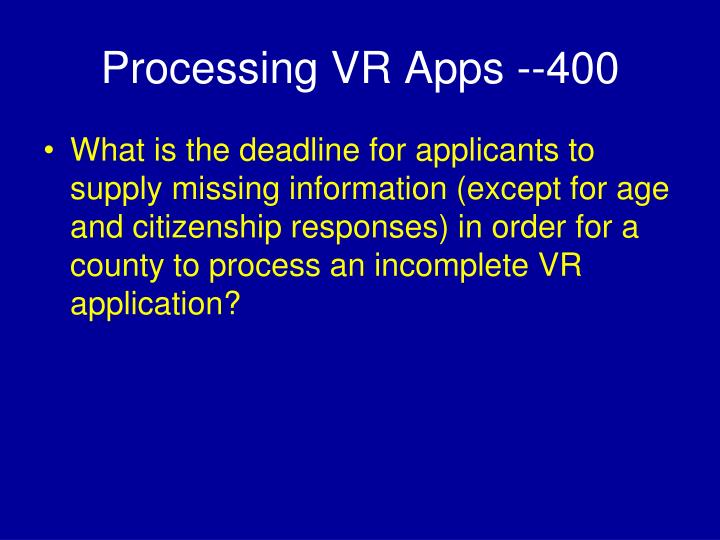 Processing VR Apps --400